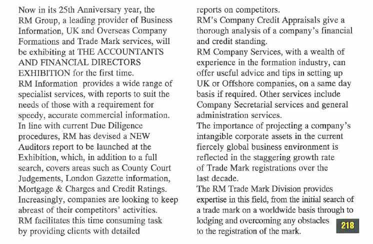 The Accountants and Financial Directors Exhibition 17-19 October 1995